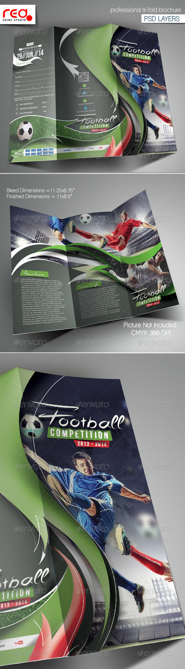 Football Competition Trifold Brochure Template - Catalogs Brochures