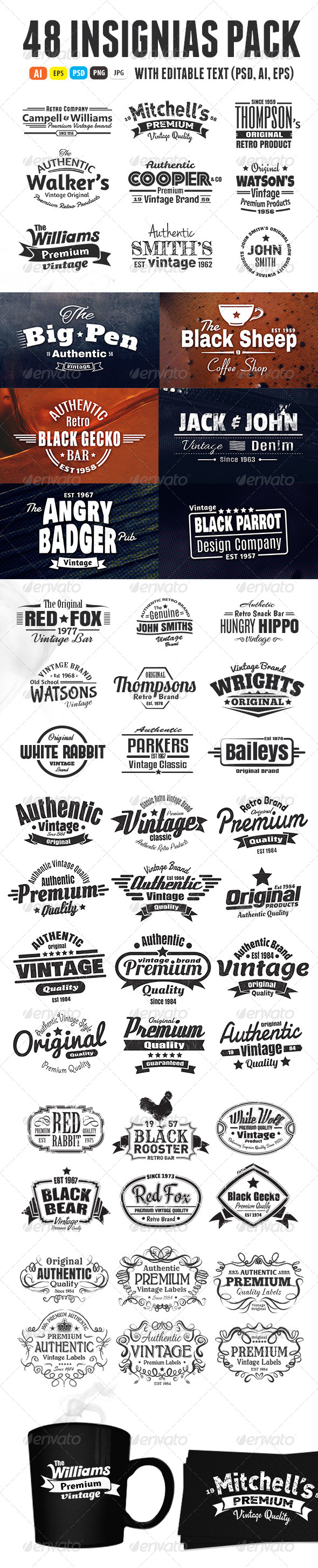 48 Insignias Or Labels Bundle - Badges & Stickers Web Elements