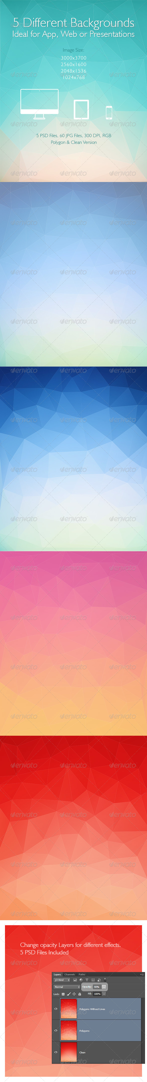 Polygon Backgrounds / 5 Different Images - Abstract Backgrounds