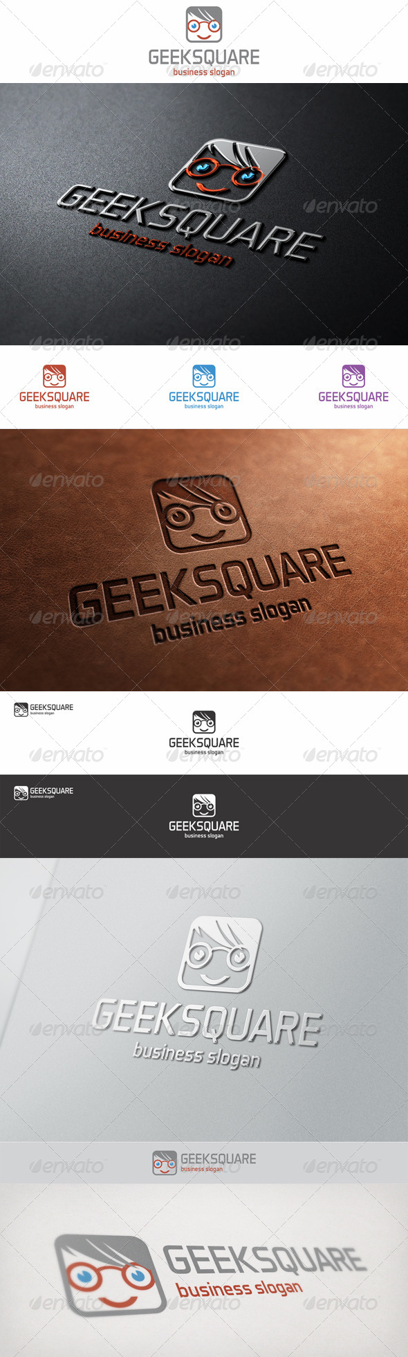 Geek Square Face Logo - Humans Logo Templates