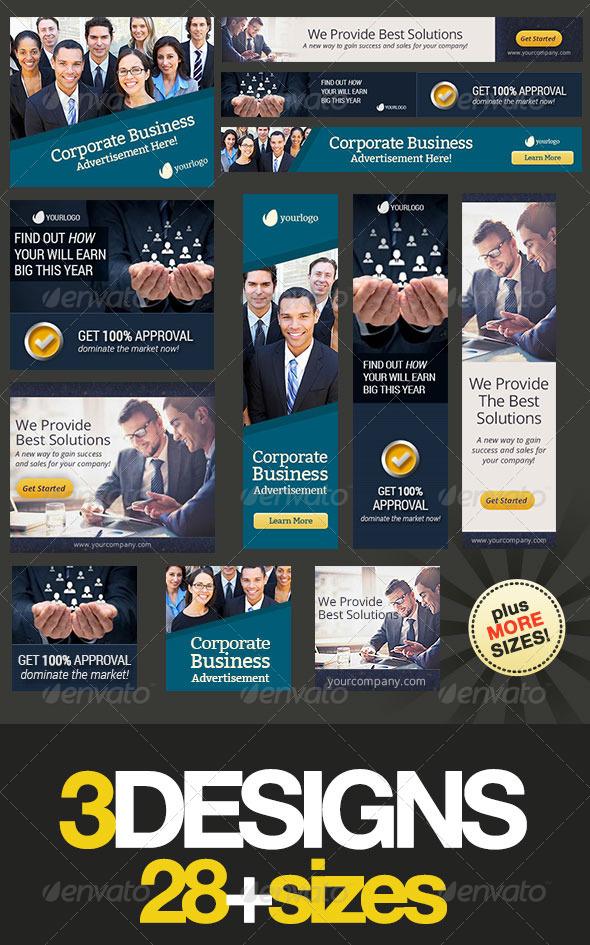 Corporate Web Banner Set Bundle 9 - Banners & Ads Web Elements