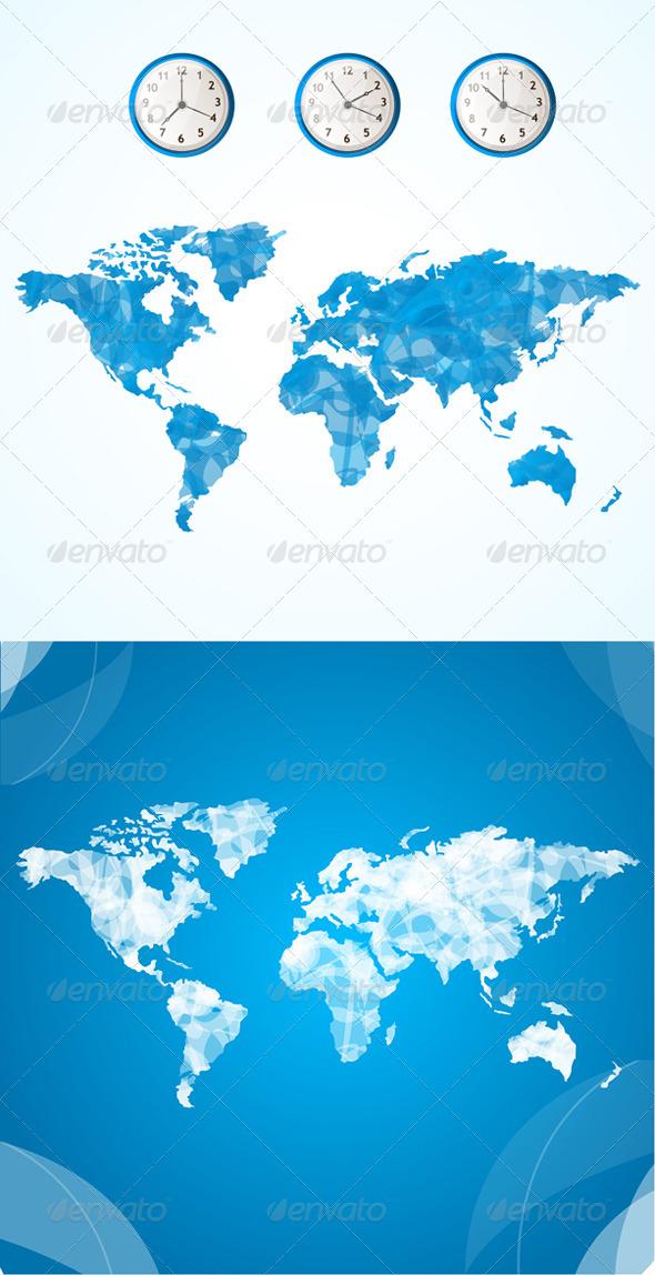 Vector World Map and Clock Concept - Travel Conceptual