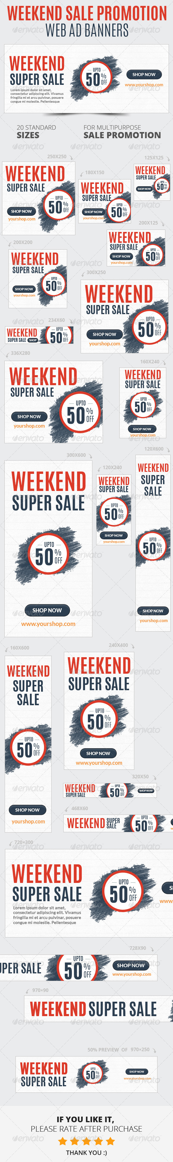 Weekend Sale Promotion Web Ad Banners - Banners & Ads Web Elements