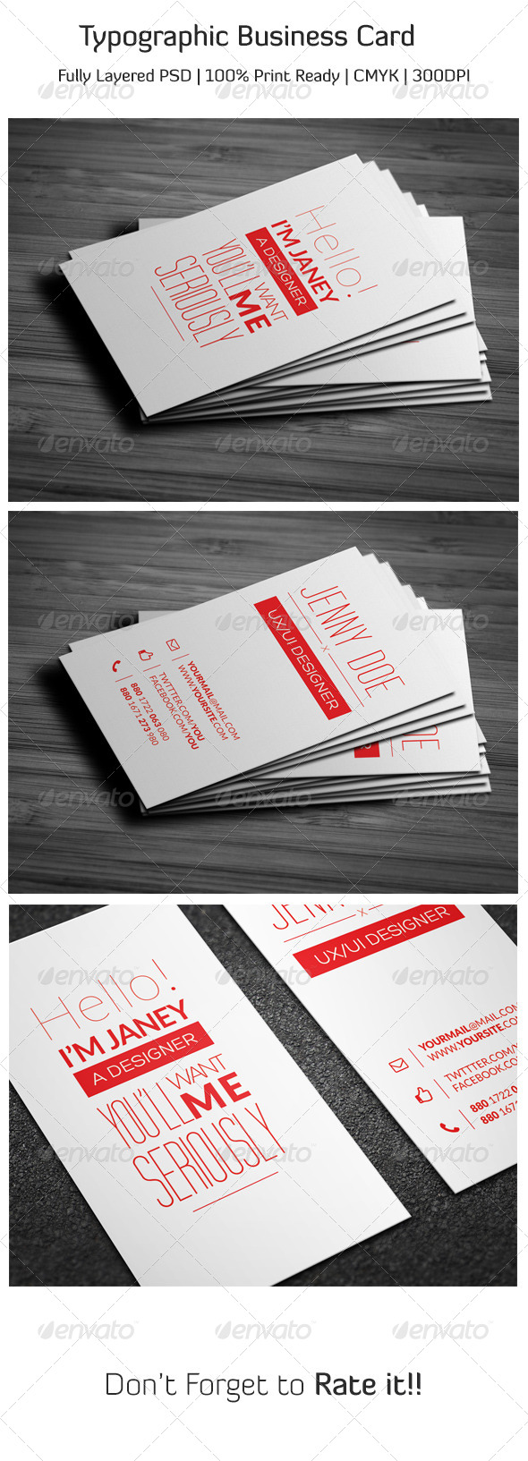 Typographic Business Card - Business Cards Print Templates