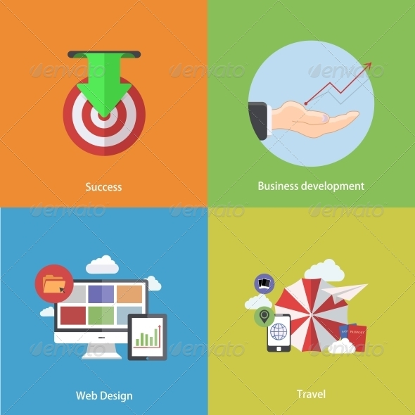 Flat Modern Icons on Sample Background - Concepts Business