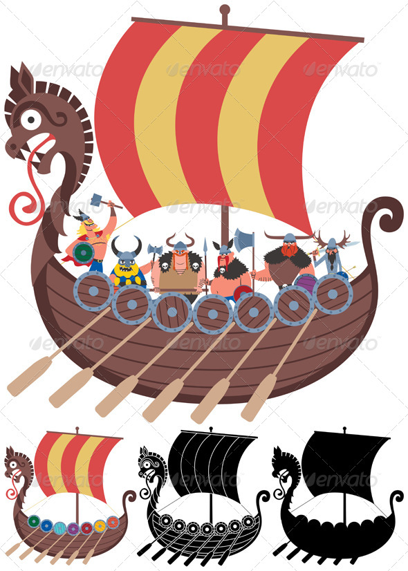 Viking Ship on White - Travel Conceptual