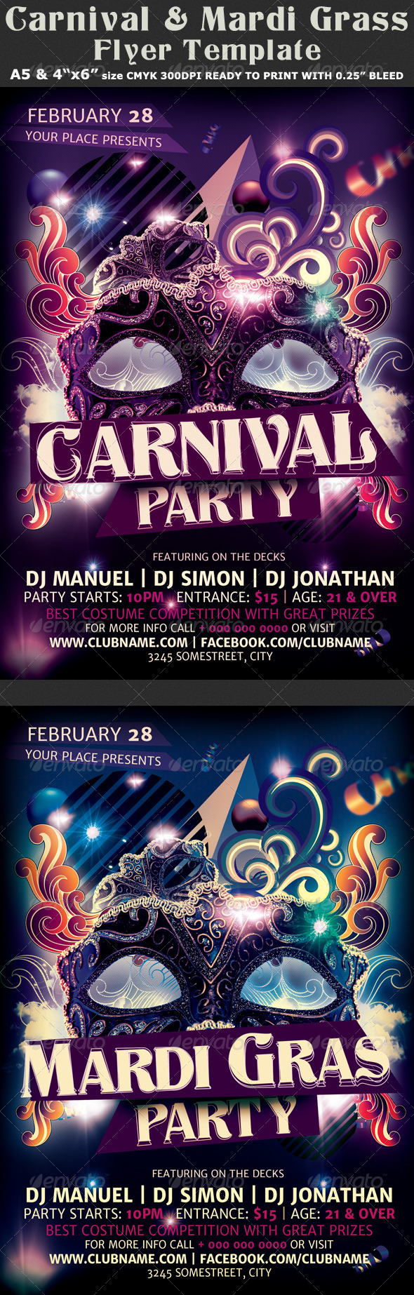 Carnival n Mardi Gras Party Flyer Template v2 - Clubs & Parties Events