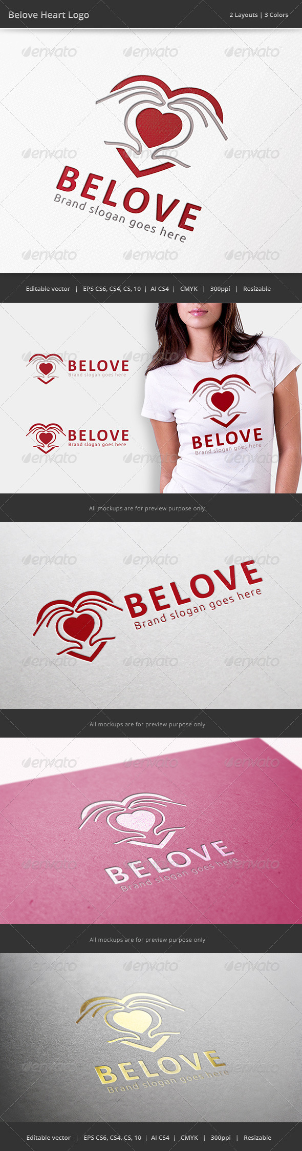 Beloved Heart Hand Logo - Objects Logo Templates