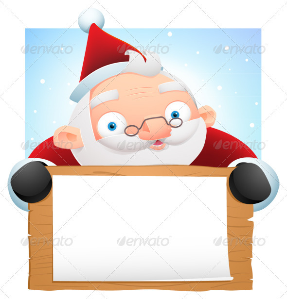 Santa Holding Wooden Banner - Characters Illustrations