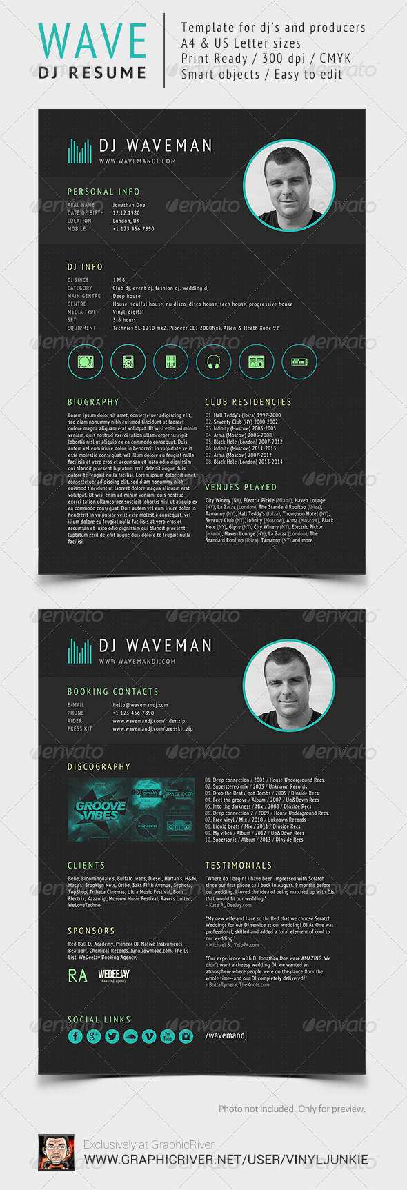 Wave - DJ Resume / Press Kit - Resumes Stationery