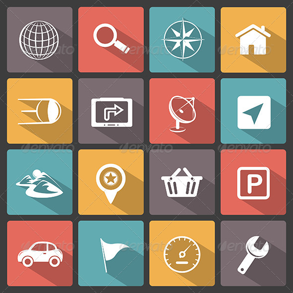 GPS Navigation Icons - Technology Icons