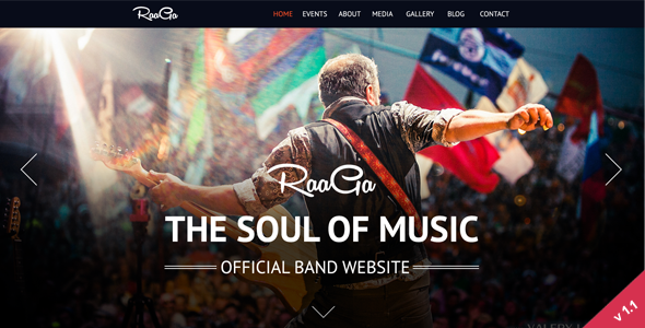 Raaga – Responsive Parallax Template for Bands
