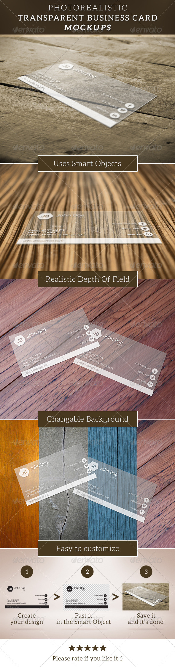 Transparent Business Card Mockup - Business Cards Print