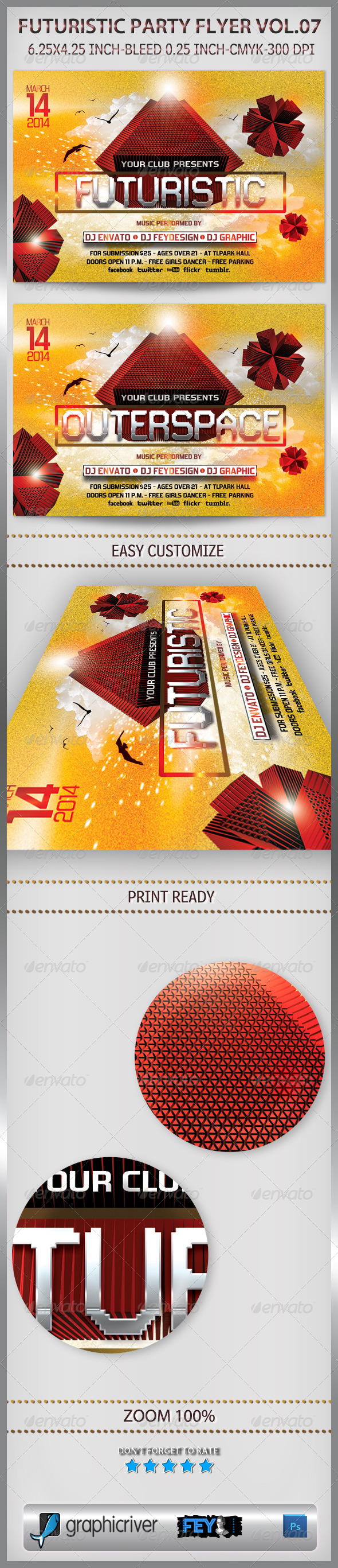 Futuristic Party Flyer Vol.07 - Flyers Print Templates