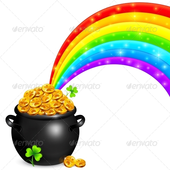 Pot of Gold with Magic Rainbow - Man-made Objects Objects
