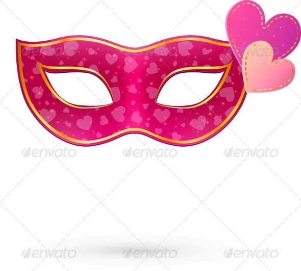 Pink Carnival Mask with Hearts - Valentines Seasons/Holidays