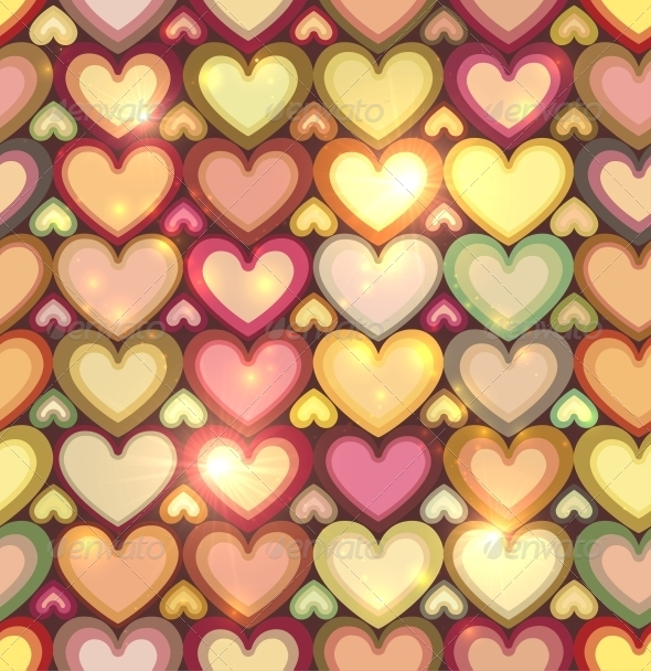 Vintage Colors Hearts Seamless Pattern - Valentines Seasons/Holidays