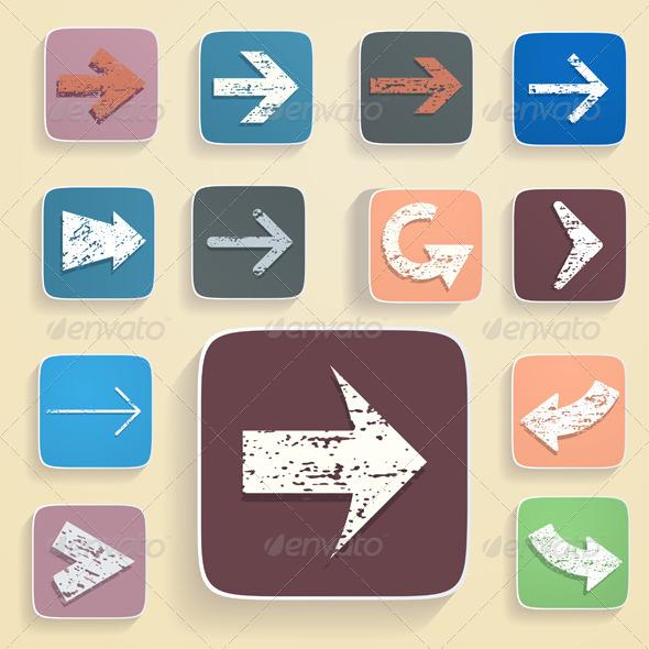 Set of Arrows in Vintage Style - Decorative Symbols Decorative