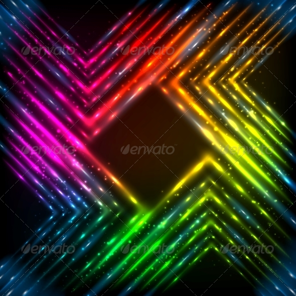 Abstract Rainbow Neon Corners Background - Backgrounds Decorative