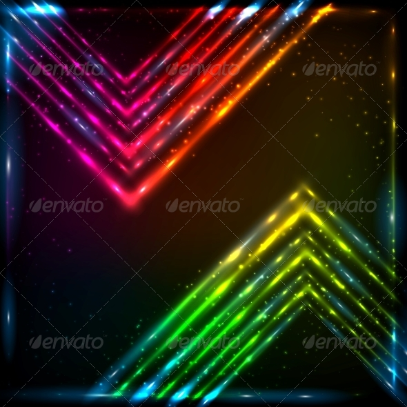 Shining Neon Arrows Abstract Background - Backgrounds Decorative
