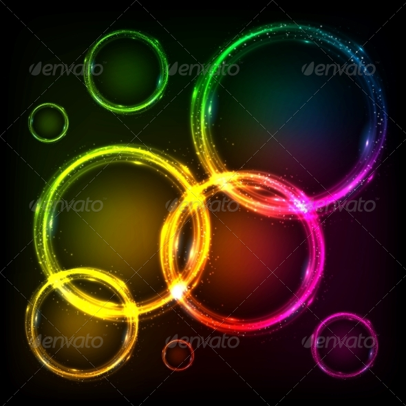 Colorful Neon Circles Abstract Frames Background - Backgrounds Decorative