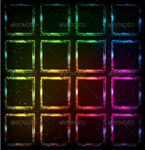 Rainbow Neon Squares Abstract Background - Backgrounds Decorative