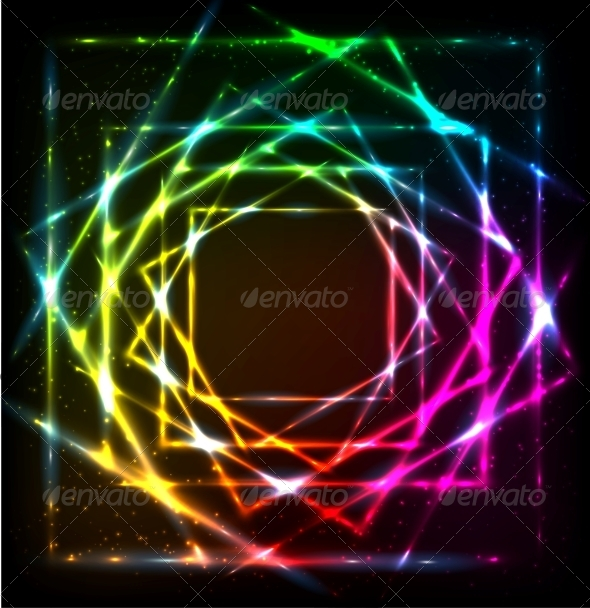 Shining Lights Rainbow Colors Frame - Backgrounds Decorative