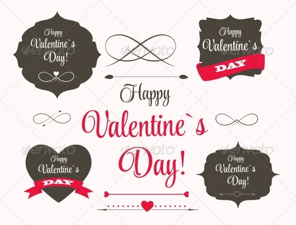 St Valentine Day's Labels and Elements - Valentines Seasons/Holidays