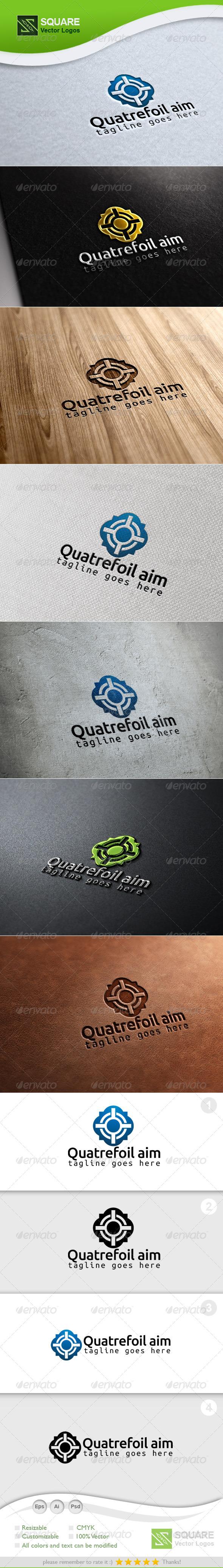 Quatrefoil, Target Vector Logo Template - Symbols Logo Templates