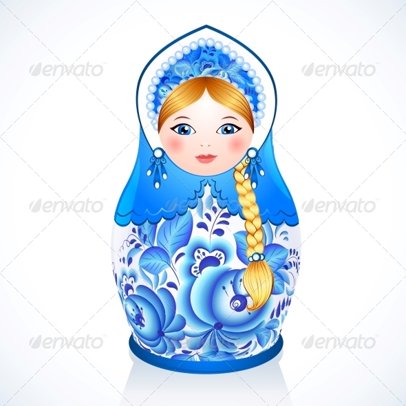 Russian Traditional Doll in Gzhel Style - People Characters