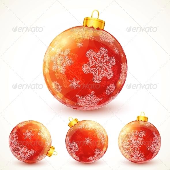 Red Ornate Shining Christmas Balls Set - Christmas Seasons/Holidays