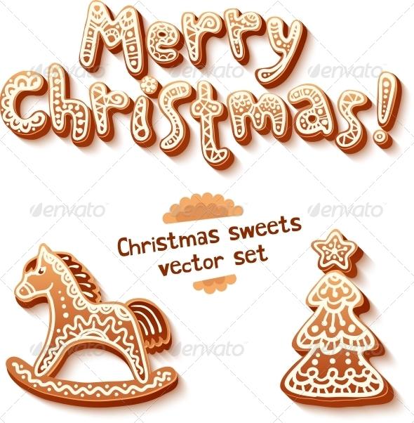 Merry Christmas Gingerbread Signs - Christmas Seasons/Holidays