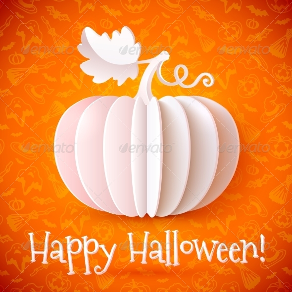 Bright Halloween White Paper Pumpkin - Halloween Seasons/Holidays