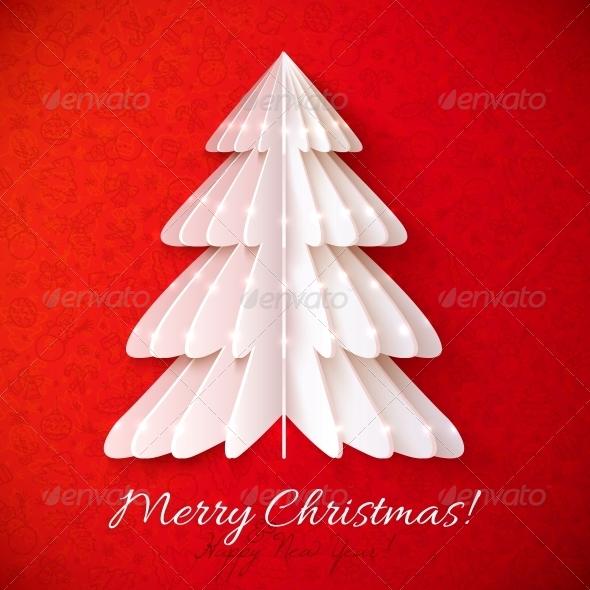 White Origami Christmas Tree Greeting Card - Christmas Seasons/Holidays