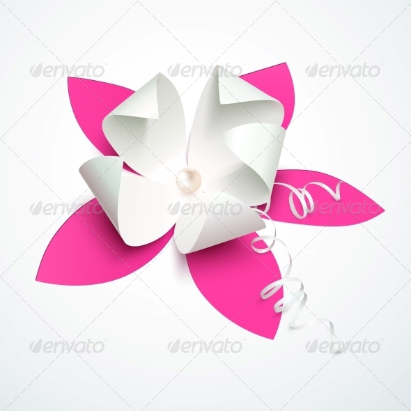 Pink Cutout Paper Flower with Pearl - Weddings Seasons/Holidays