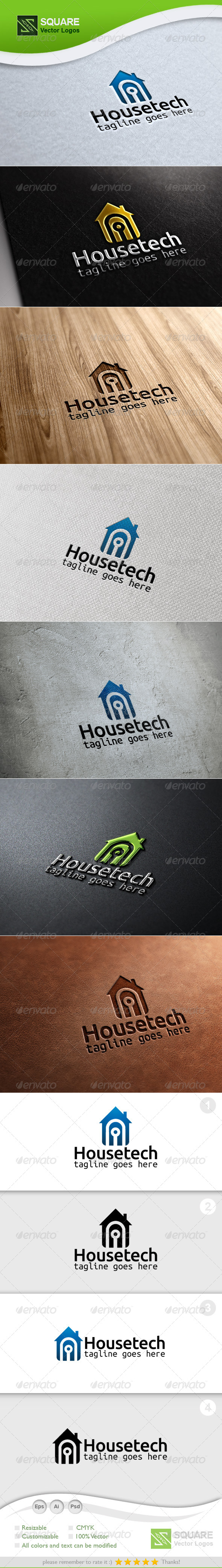 House, Tech  Vector Logo Template - Buildings Logo Templates