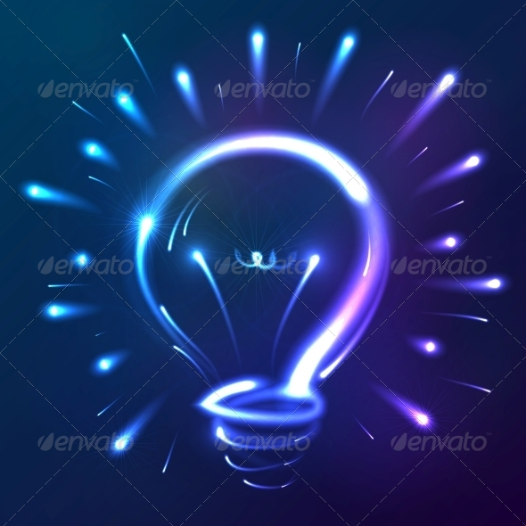 Bright Blue Neon Lights Abstract Bulb - Abstract Conceptual