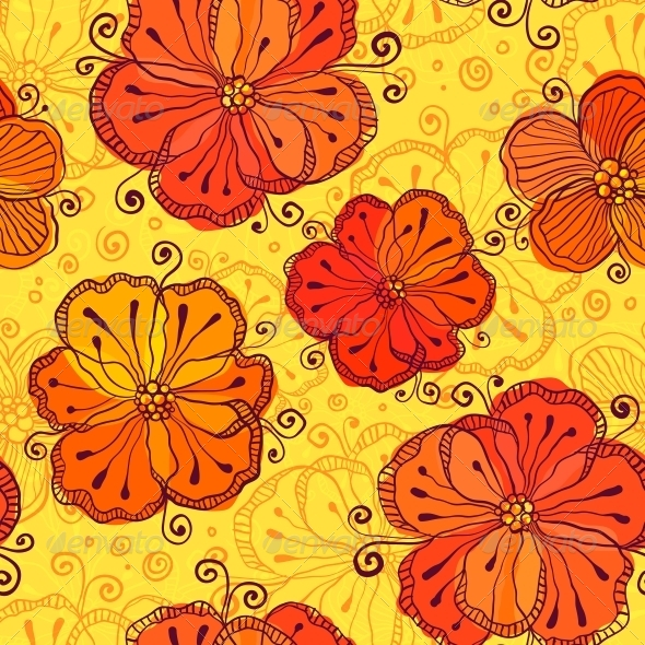 Orange Doodle Flowers Seamless Pattern - Patterns Decorative
