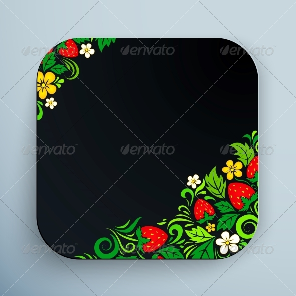 Black Rounded Square Icon with Floral Ornament - Web Technology