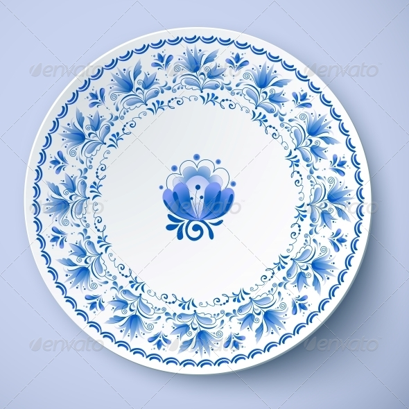 White Plate with Russian Ornament - Man-made Objects Objects