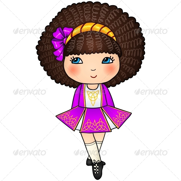 Irish Dancing Girl in Violet Traditional Dress - People Characters