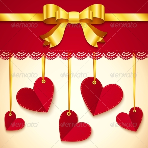 Valentine's Day Greeting Card with Hearts and Bow - Valentines Seasons/Holidays