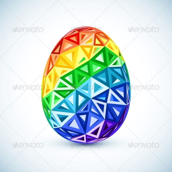 Abstract Geometry Triangles Rainbow Easter Egg - Miscellaneous Seasons/Holidays