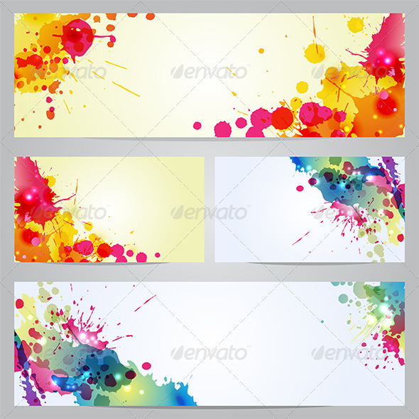 Set of Banners and Business Cards with Blots - Backgrounds Decorative