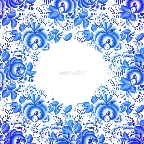Ornate Blue Floral Frame - Backgrounds Decorative