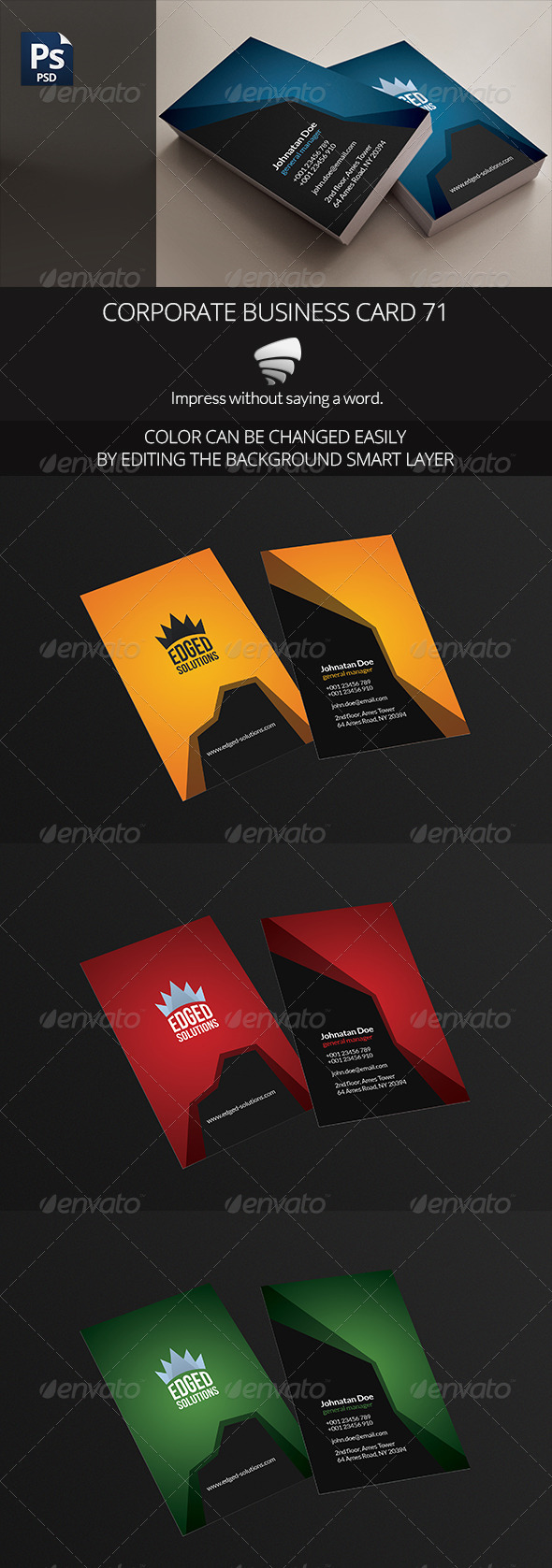 Corporate Business Card 71 - Business Cards Print Templates