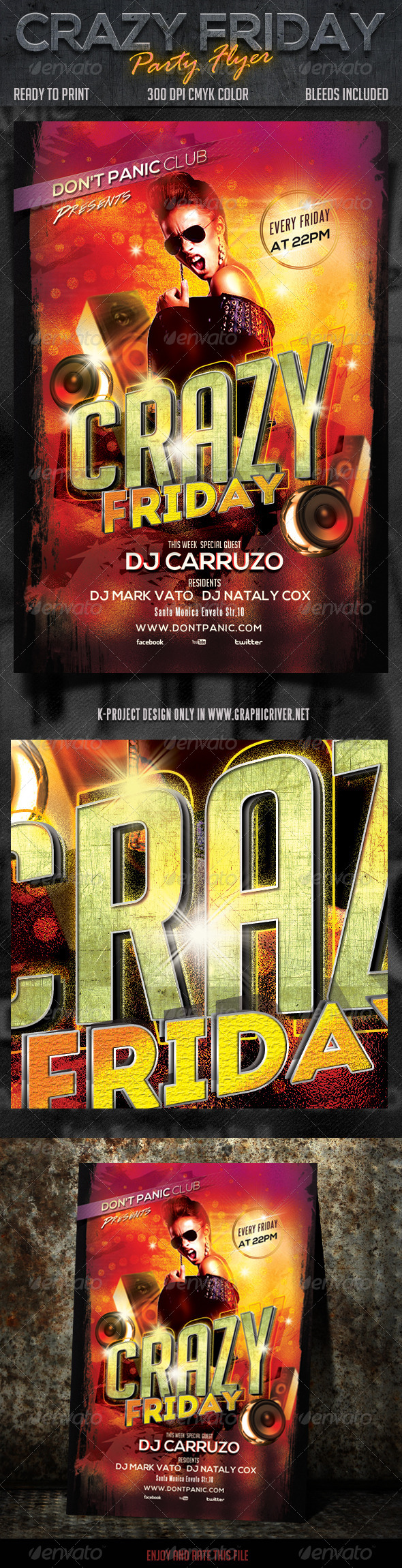 Crazy Friday Party Flyer - Clubs & Parties Events