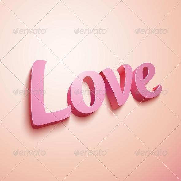 Pink Realistic Plastic Love Sign - Valentines Seasons/Holidays