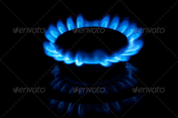 Blue gas flames - Stock Photo - Images