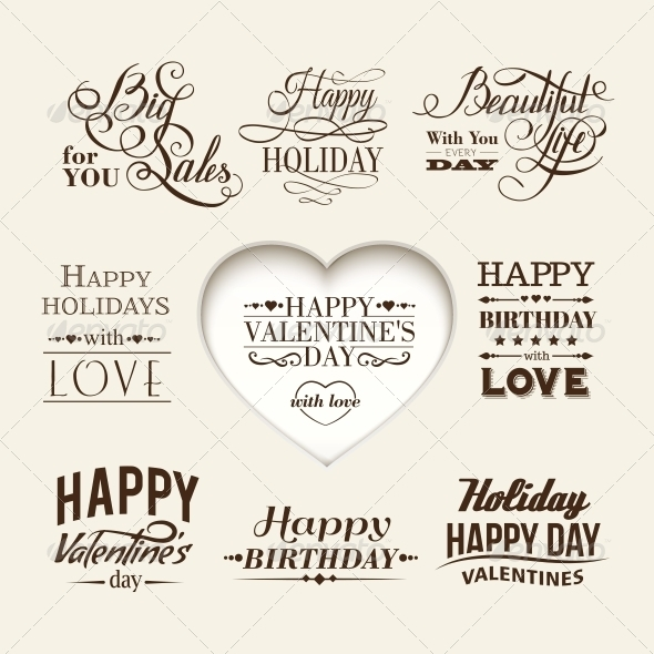 Set of Happy Valentine's Day Hand Lettering. - Valentines Seasons/Holidays
